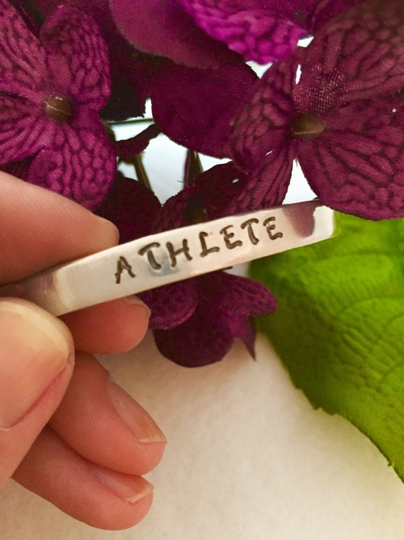Customized Bangle Bracelet, Athlete Gifts, Custom Engraved Sports Cuff, Custom Hand Stamped Jewelry, Hand-Stamped Gift, Personalized Gifts