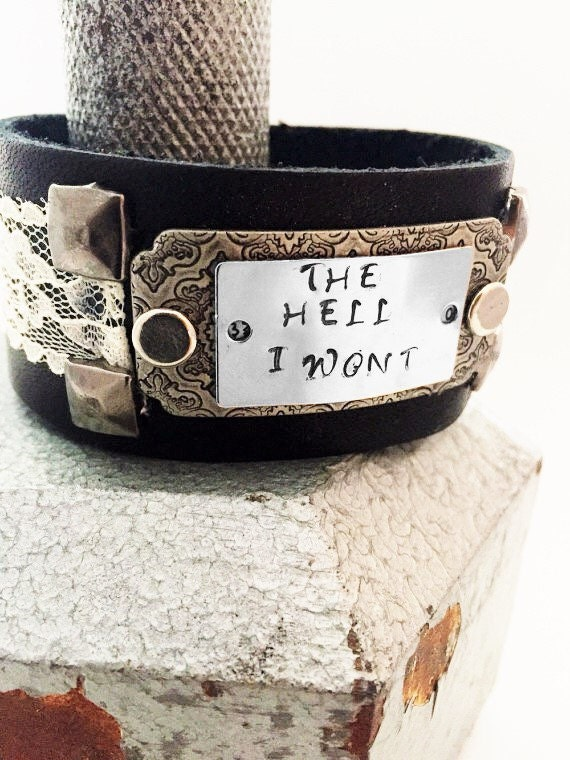 Crossfit Jewelry - Motivational Jewelry - Gifts for Men Women - Athlete Coach - Crossfit Leather Cuff - The Hell I Won't Metal Bracelet Gift