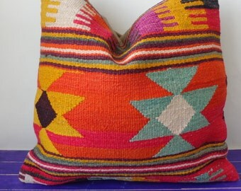 50x50cm large kilim pillow wool large pillow cover - 221b