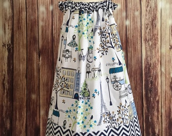 Paris sundress, Eiffel Tower Paris dress, Sundress for girls,