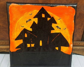 """Canvas """"Halloween"""" haunted house with small bats"""