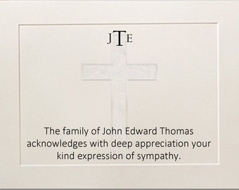 Sympathy Acknowledgement Funeral Thank You Cards Personalized Christian Cross Monogram Message Funeral