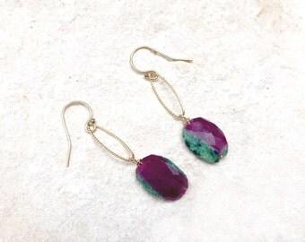 Rubellite Drop Earrings, 14k gold-fill