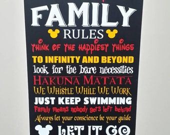 Family rules disney themed 22x12 wood sign