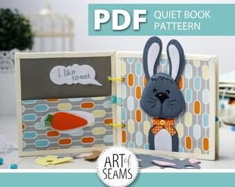 Quiet book patterns, PDF pattern, animal story: rabbit, bunny, cat, dog, mouse. Made of felt, Digital, Handmade, Craft