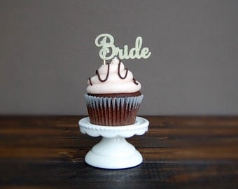 Bridal shower cupcake toppers, bridal shower decorations, wedding cupcake toppers, engagedment party decorations, cupcake toppers