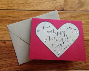 Valentine's Day Card: red and tan