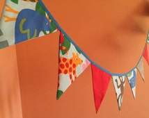 Animal zoo flag bunting, jungle bunting, fabric bunting, baby shower, nursery, cotton, photography prop, bedroom, kids room, party bunting