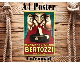 Beautiful Retro A4 Vintage Advertising Poster Bertozzi Italian Cheese Unframed
