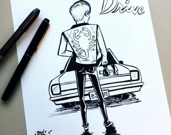 "Drive Movie Ink Drawing 8.5""X11"" inch original art"