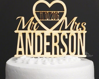 Custom Introducing Mr. & Mrs. Wedding Cake Topper - Made of Beautiful Birch Romantic Wooden Reception and Engagement Party Bridal Cake Decor