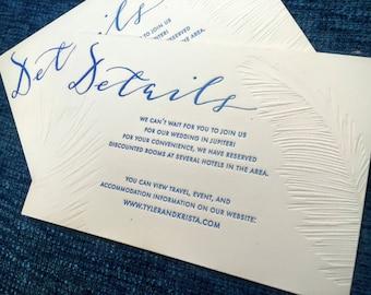 Tropical Palms Letterpress Invitation Suite | Tropical Destination Beach Wedding Invite with Custom Calligraphy