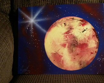 Space painting with spray paint