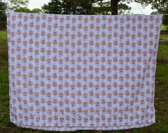 Vintage, Twin , Flat, Bed Sheet, Paisley, Poly/Cotton