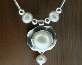 Handmade Sterling Silver and Pearl Pendant