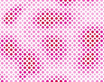Quilting Treasures Fabric  - Ombre Dots - Red/Pink - Cotton fabric by the yard