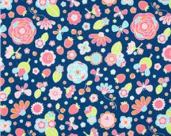 Fabric by the yard - Riley Blake  - Flutterberry Main Navy