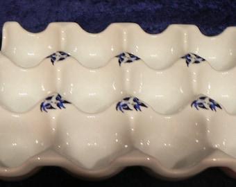 Blue willow egg holder for 6 or 12 eggs ceramic holder for eggs