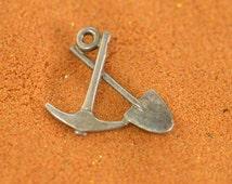 Shovel and Pick Charm / Pendant Sterling Silver 1g Vintage Estate