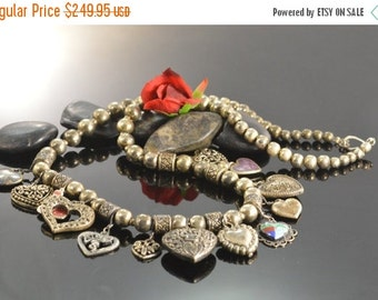ON SALE Beaded Multi-Heart Charm Necklace Silver 81g Vintage Estate