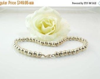 ON SALE Ball Bead Chain Necklace Sterling Silver 45.3g Vintage Estate