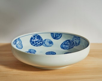 Large Vintage Blue and White Porcelain Bowl With Ballon Pattern