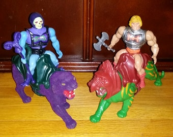 Vintage He-Man Battle Armor Heman Skeletor Battlecat & Panthor lot