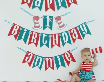Dr seuss cat in the hat birthday banner