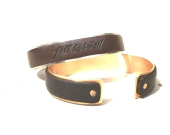 Sterling Silver/Leather Affirmation Cuff Bracelet