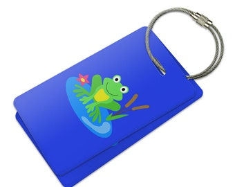 Frog On Lily Pad Suitcase Bag ID Luggage Tag Set