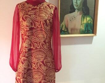 Vintage 1960s Paisley brocade Mad Men style shift dress