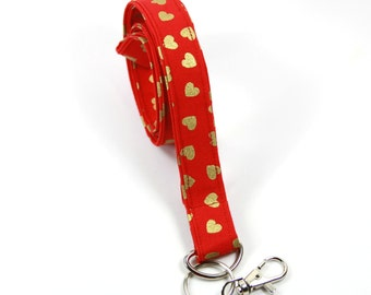 HEART fabric lanyard, Red Heart Fabric Lanyard, Red Heart Badge Holder