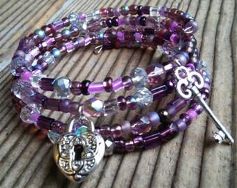 Key and locket beaded bracelet