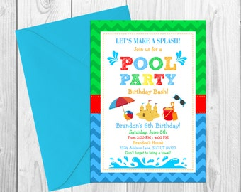 Pool Party Birthday Invitation, Printable Pool Party Invitation, Pool Party Invite, Pool Party Birthday, Summer Birthday Invitation