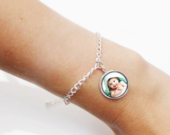 Custom Photo Charm Bracelet , Photo Bracelets ,  Personalized Photo Pendant Bracelet , Silver Photo Pendant Bracelet, Your own Photo Gift