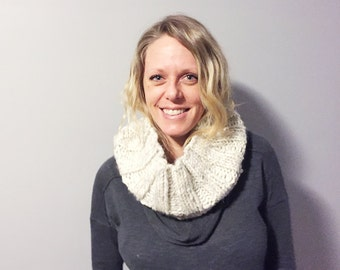 chunky ribbed knit cowl - circle scarf - infinity scarf → the monotone