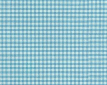 "Light Blue Gingham, 1/8"" Pond Blue and White checked fabric, Robert Kaufman Fabric, 100% cotton fabric"