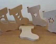 Blank MDF wood craft Christmas hanging stocking