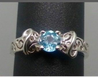 14k Blue Zircon Ring, FREE SIZING