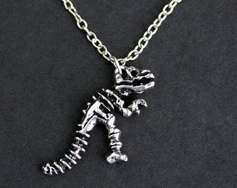 Dinosaur Necklace. Archeology Necklace. Dinosaur Bones Charm Necklace. TRex Skeleton Necklace. Silver Necklace. Handmade Necklace.
