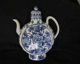 Blue and White Ceramic Teapot