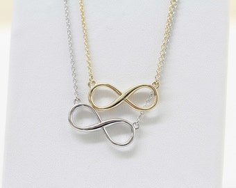 Real Solid Gold Infinity Neckalce, Love Necklace, Friendship Necklace, Anniversary Gift, Bridesmaid Gift, Solid Gold Infinity Neckalce,14K