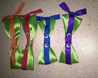 4 set of ninja turtle hair bows