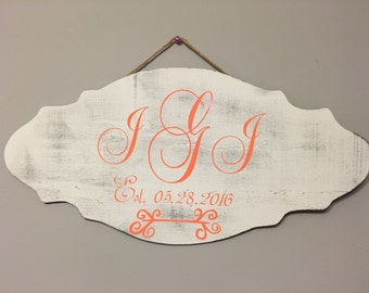 Beautiful Whitewash wooden sign with initials and wedding date.