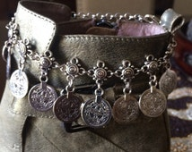Bohemian Silver Coin Boho Anklet