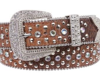Snap On Western Cowgirl Alligator Rhinestone Studded Leather Belt(6021)