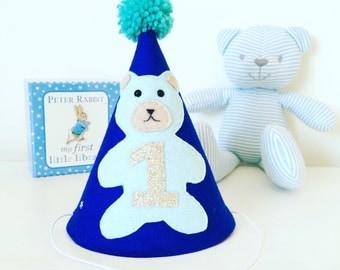 Boys first birthday hat with teddy bear