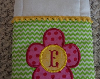 Flower Burp Cloth with Initial