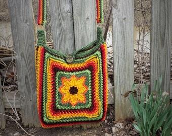 Sunset Sunflower Boho Laptop Carrier Purse Crochet Pattern