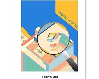 Pregnancy Postcard - II. Copy Center ( A Cartoonish Way of Pregnancy Announcement ) - Set of Four